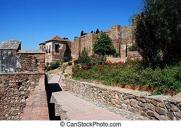 malaga., citadelle, de, alcazaba, murs