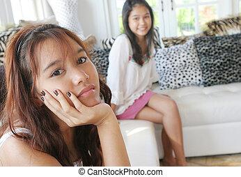 malheureux, asiatique, adolescent