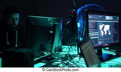 malware, fraude, hackers, utilisation, concept., blockchain, virus, cryptocurrency, ddos, informatique, interface., cyberattack, logiciel, confection