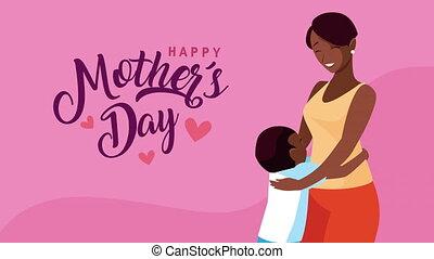 maman, afro, enfante jour, fils, lettrage, heureux