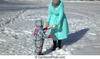 maman, boules neige, girl, moule
