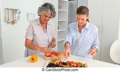 maman, elle, cuisine, femme