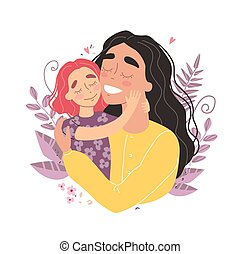 maman, girl, mères, étreindre, sourire, salutation, jour, carte