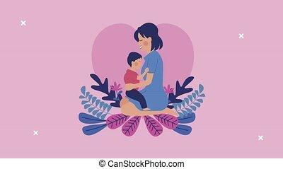 maman, mères, coeur, jour, fils, étreindre, heureux