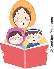 maman, musulman, livre, lire, art conter, gosses