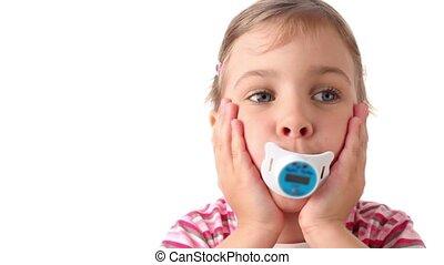 mamelons, girl, formulaire, bouche, thermomètre, tient