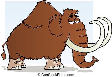 mammouth, caractère, dessin animé, mascotte
