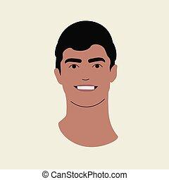 man., plat, jeune, beau, portrait, design., foncé-d'une chevelure