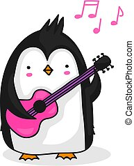 manchots, jeu guitare