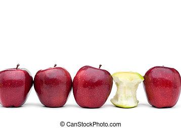 mangé, individu, pommes vertes, délicieux, pomme rouge