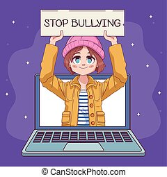 manga, arrêt, bannière, mignon, petite fille, caractère, comique, intimider, ordinateur portable