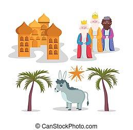 mangeoire, dessin animé, icônes, rois, étoile, trois, sage, nativité, âne