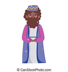 mangeoire, dessin animé, roi, sage, nativité, balthazar