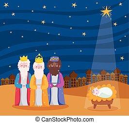 mangeoire, dessin animé, rois, étoile, bébé jésus, trois, sage, nativité