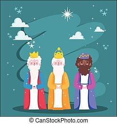 mangeoire, dessin animé, rois, étoiles, trois, sage, nuit, nativité