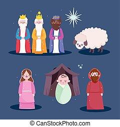 mangeoire, dessin animé, rois, caractères, famille, sage, nativité