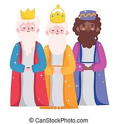 mangeoire, dessin animé, rois, caractères, trois, sage, nativité