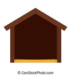 mangeoire, isolé, bois, hutte
