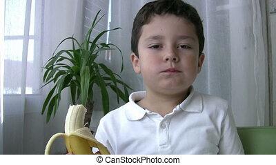 manger, banane, enfant