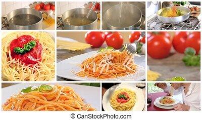 manger, cuisine, spaghett, italien