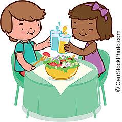 manger, séance, sain, o, nourriture., vecteur, illustration, table, enfants