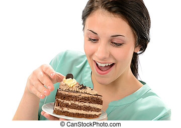 manger, savoureux, gâteau, girl, morceau, joyeux
