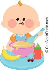 manger, solide, illustration, nourriture., vecteur, bébé