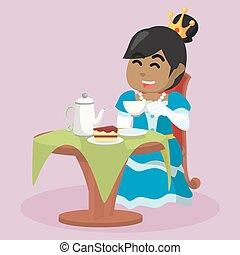 manger, thé, africaine, gâteau, boire, princesse