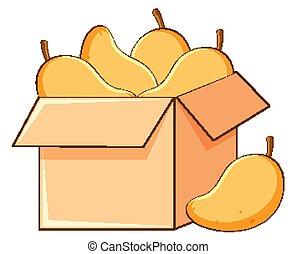 mangues, fond blanc, boîte