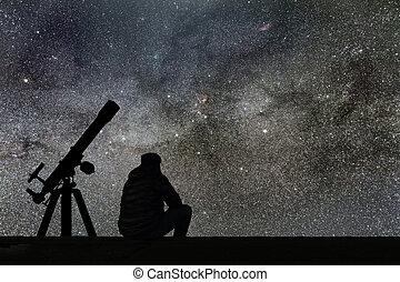 manière, étoiles, regarder, ciel, étoilé, astromomie, telescope., laiteux, homme