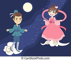 manière, couple, festival, tanabata, laiteux