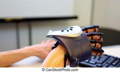 manipulateur, virtuel, main, fond, clavier, mouvements