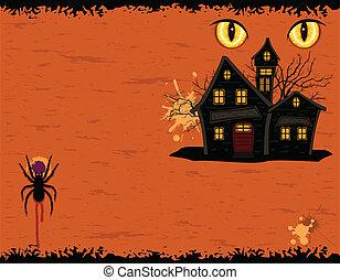 manoir, halloween, carte, fête, fantômes, grungy