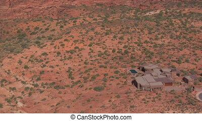 manoir, prise vue aérienne, désert