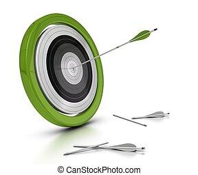 manqué, objectif, fond, cible, concept, une, autre, flèches, deux, ils, achived, centre, flèche, objectif, frapper, blanc
