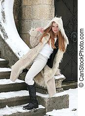 manteau, blond, fourrure, girl