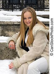 manteau, blond, frecked, fourrure, girl