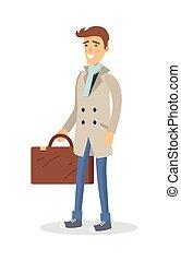 manteau brun, isolé, valise, blanc, homme