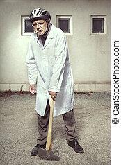 manteau, double, monde médical, hache, became, grand, agressif, fâché, homme