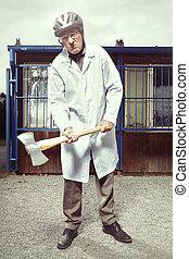 manteau, double, monde médical, hache, grand, agressif, armé, homme