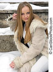 manteau, girl, fourrure, couvert taches rousseur, blonds