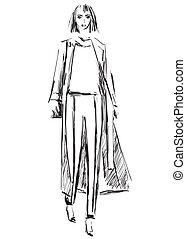 manteau, mode, sketch., models.