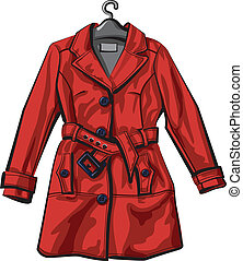 manteau, rouges, pluie