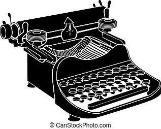 manuel, vecteur, machine écrire