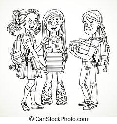 manuels, compagnie, isolé, dessin, conversation, stand, fond, écolière, blanc, sacs dos, ligne