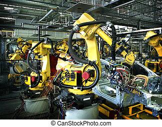 manufactory, voiture, soudure, robots