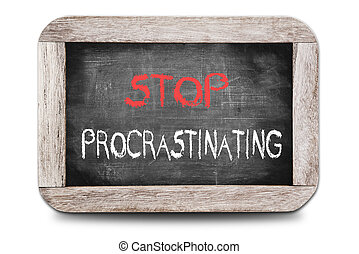 manuscrit, tableau, procrastinating, arrêt