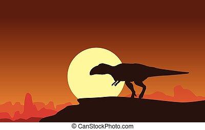 mapusaurus, coucher soleil, silhouette