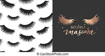 maquillage, citation, mèches, mascara, pattern., ensemble, sur, mode, doré, vecteur, seamless