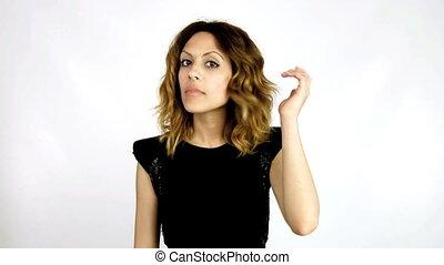 maquillage, femme, sexy, vérification, elle